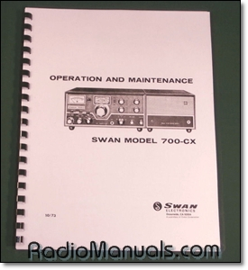 "Swan 700-CX Operations Manual with 11"" x 24"" Foldout Schematic"