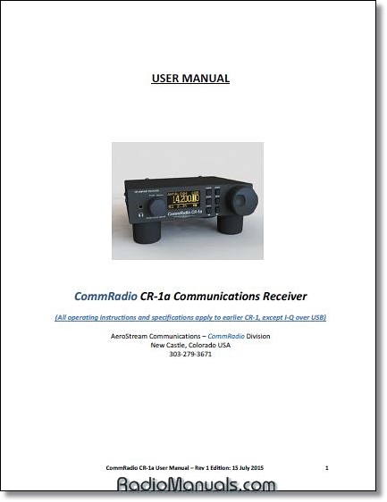 CommRadio CR-1A Instruction Manual