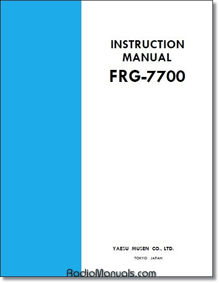 Yaesu FRG-7700 Instruction Manual