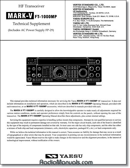 Yaesu FT-1000MP MK V Technical Manual