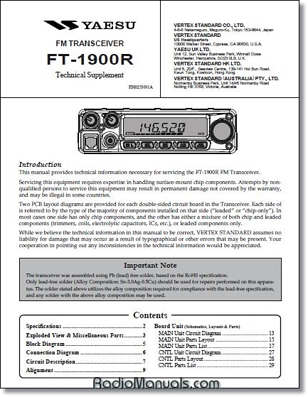 Yaesu FT-1900R Technical Supplement