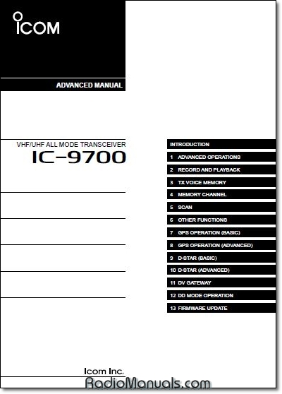 Icom IC-9700 Advanced Instruction Manual