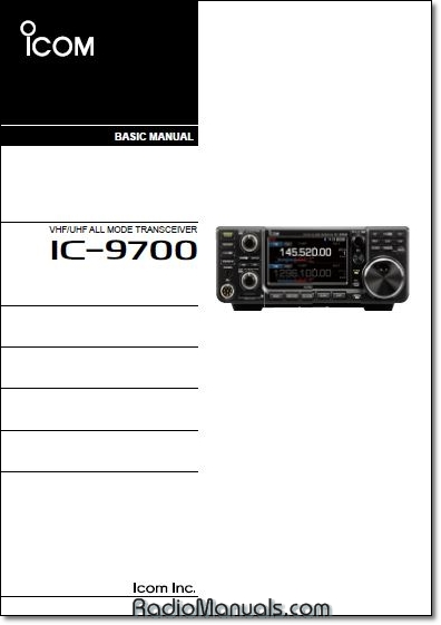 Icom IC-9700 Basic Instruction Manual