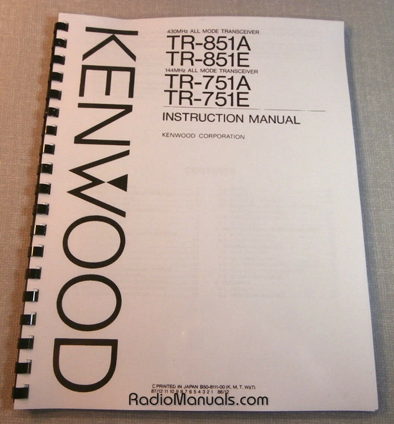 Kenwood TR-851A/TR-751A Instruction