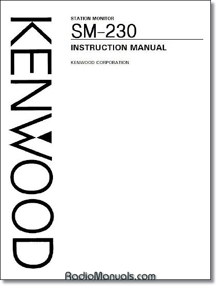 Kenwood SM-230 Instruction Manual
