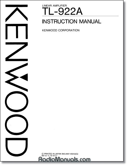 "Kenwood TL-922A Instruction Manual: 11"" x 17"" Foldout Schematic"