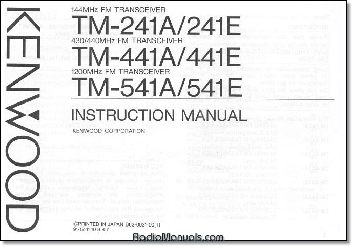 Kenwood TM-241A/TM-441A/TM-541A Operating Manual