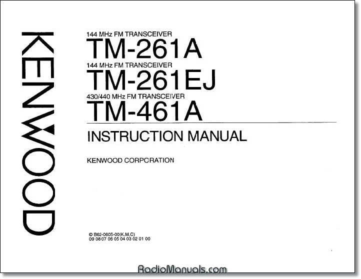 Kenwood TM-261A/461A Operating Manual