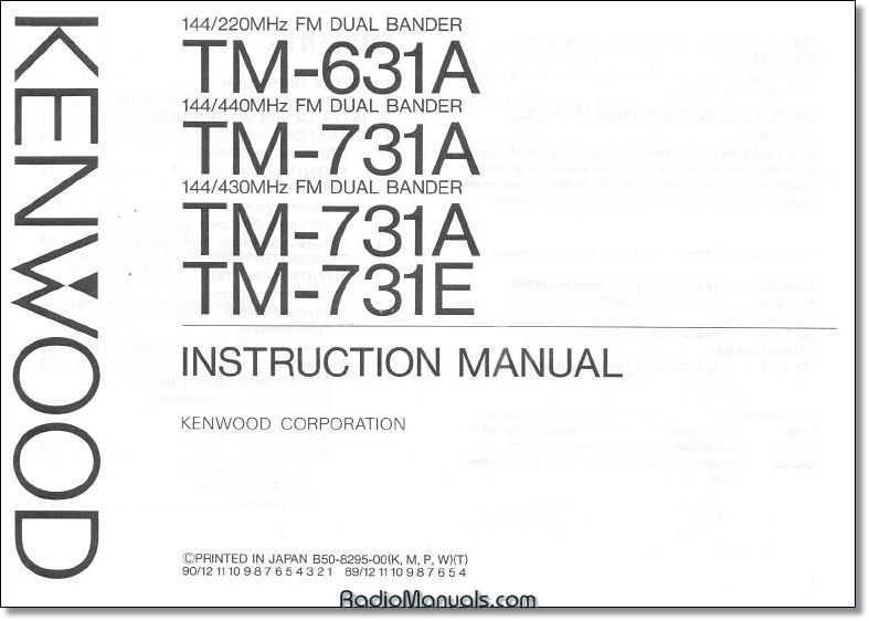 Kenwood TM-631A/731A Instruction Manual