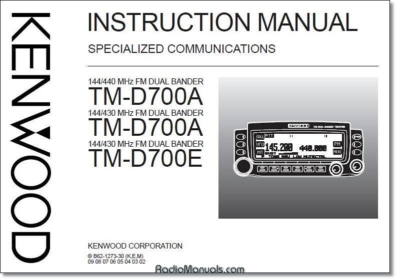 Kenwood TM-D700 Specialized Communications Manual