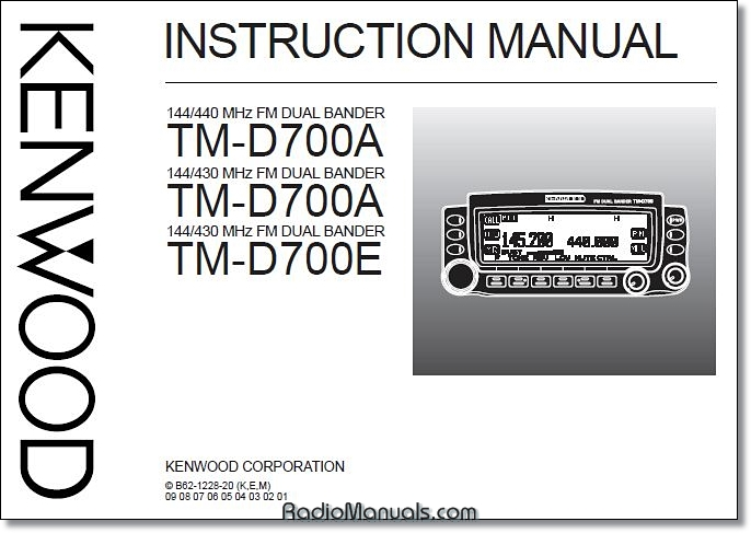 Kenwood TM-D700A/E Instruction Manual