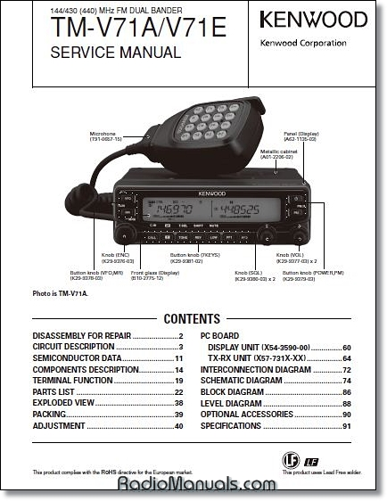 Kenwood TM-V71A/E Service Manual