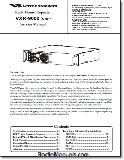 Vertex VXR-9000u Service Manual
